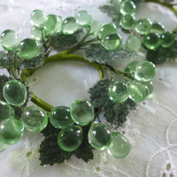 Lucite Candle Rings, Mint Green Grapes, Pair Candle Rings, Grape Candle Rings