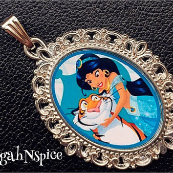 Princess Jasmine and Rajah necklace pendant Inspired Necklace Pendant Cabochon for Chunky Bubblegum necklaces Princess Jasmine Pendant