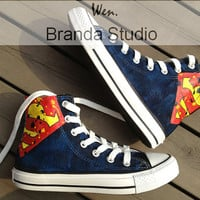 2013 New Birthday Superman Studio Hand Painted Shoes High Top,Paint On Custom Converse Shoes Only 89Usd,Buy One Get One Phone Case Free