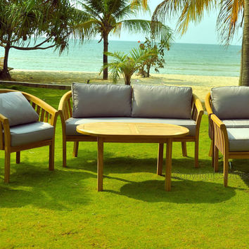 6 Piece Round Back Teak Indonesian Outdoor Patio Chair Set