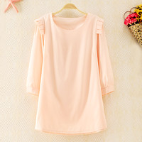 Soft Round Collar Blouse Pink