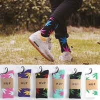 Fashion Mens Women Cotton Socks Marijuana leaf Casual Long Weed Sock 7-12
