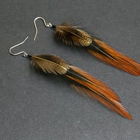 Rustic brown earrings Made with real Feathers Earthy Jewelry in Earth Tones Jewellery Native American style Indian Tribal jewelry Rusty