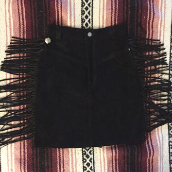 Vintage 80s Black Suede Harley Davidson High Waisted Fringe Mini Skirt S