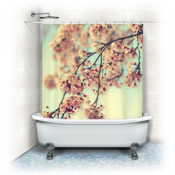 "Floral Shower Curtain ""Come away with me"" white, pink,aqua, bathroom, home decor, pastel flowers, floral shower curtain,cherry blossoms"