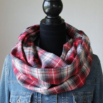 Red Plaid Scarf, Winter Scarf, Mens Scarf, Womens Scarf, Fall Scarf, Plaid Infinity Scarf, Flannel Scarf