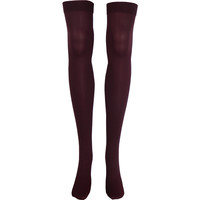 Solid Opaque Thigh High Socks in Burgundy