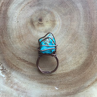 Blue stone wire-wrapped thumb ring