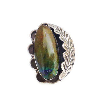 Native American Sterling Ring Quartz Mix Azurite Malachite Stone Feather Large Knuckle Vintage Jewelry