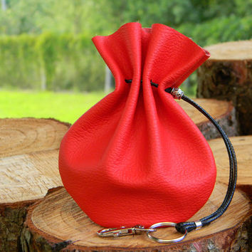 Medium Red Leather Pouch, Travel Genuine Leather Pouch