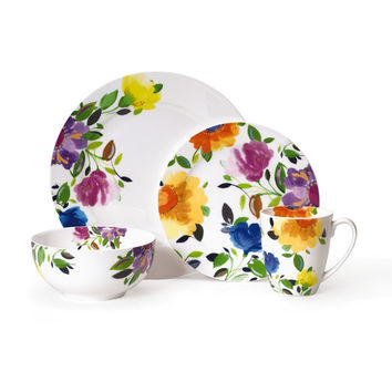 Kim Parker Provence Garden Porcelain Dinnerware Set (16-piece) | Overstock.com Shopping - The Best Deals on Casual Dinnerware