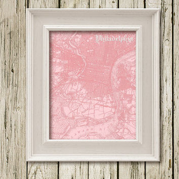 PHILADELPHIA MAP Printable Instant Download Poster Home Decor Wall Art  CM032pink