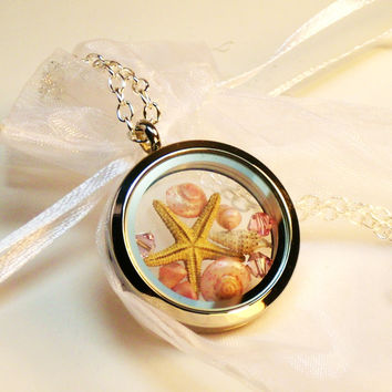 Pale Pink Seashell Starfish Glass Locket Necklace ~ Beach Jewelry