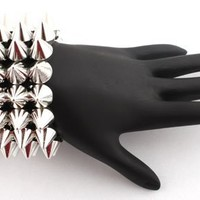 Silver 3 Row Spike Style Adjustable Bracelet