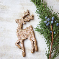 Glitter Brooch Deer Christmas pin Christmas jewelry sparkly brooch Glitter jewelry Wood pin Reindeer Christmas party gift stocking stuffer