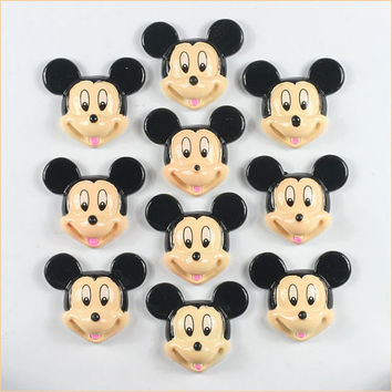 Lot 10pcs Resin Disney Mickey Mouse Flatback Flat Back Scrapbooking Hair Bows Center Frame Card Making Crafts DIY