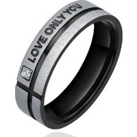 "Stainless Steel ""LOVE ONLY YOU"" W. Cubic Zirconia 6mm Couple Engagement Wedding Bands Promise Ring Mens (Black and Silver Color) Ladies (Silver Color)"