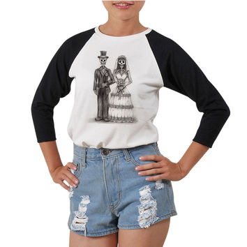 Women's Art skull-1 Printed Elbow Sleeves T- Shirt WTS_03