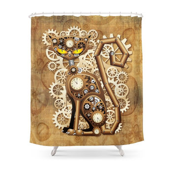 Society6 Steampunk Cat Vintage Style Shower Curtain