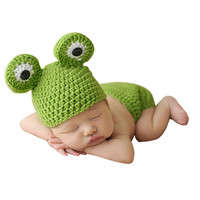 Newborn Crochet Baby Costume Photography Prop Baby Infant Crochet Frog Hats Beanie Knitted  Green