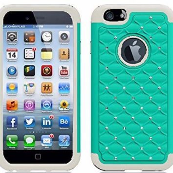 Apple iPhone 6s Plus Case / 6 Plus Case Crystal Rhinestone Slim Hybrid Dual Layer Case - Teal/White