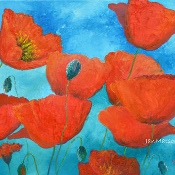 Poppy painting, Poppy art, canvas art, poppies, red poppies, Flower Paintings, designer decor, red flowers, living room art, Etsy art,Matson