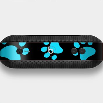 The Black & Turquoise Paw Print Skin Set for the Beats Pill Plus