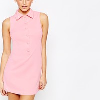 Fashion Union 60's Retro A Line Shift Dress with Button Detail at asos.com