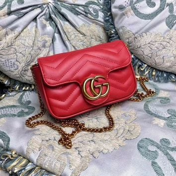 Gucci Gg Marmont Leather Chain Shoulder Bag