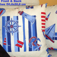 Sailor 20x20 pillow cover – Sailboat bedroom room decor