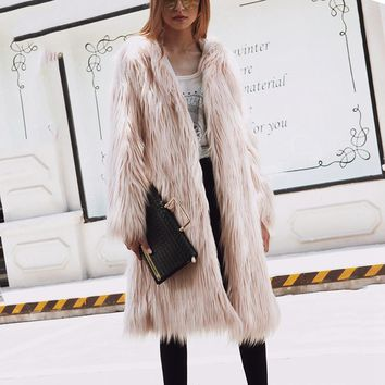 2017 faux fur coat Fashion Four Colors Model Long Hooded Design Slimming Overcoat All-matching Fur Imitation Overcoat for Aug25