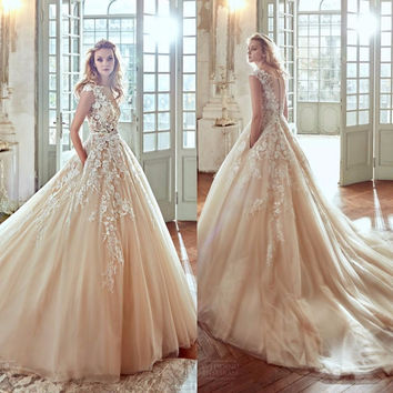 2017 Blush Vestios De Novia 3D-Floral A-line Wedding Dresses Lace Sheer Neck Button Back Luxury Arabic Bridal Gowns Pockets