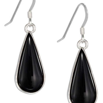 STERLING SILVER SIMULATED ONYX TEARDROP EARRINGS ON FRENCH WIRES
