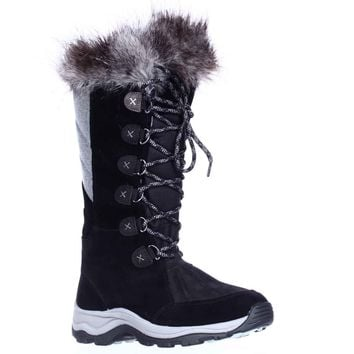 Clarks Wintry Hi Waterproof FLeece Lined Lace Up Winter Boots, Black, 6.5 US / 37 EU