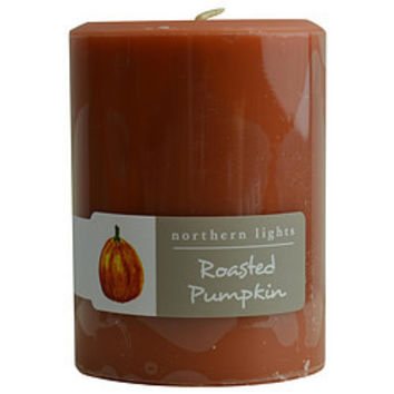 ROASTED PUMPKIN ONE 3x4 inch PILLAR CANDLE.  BURNS APPROX. 80 HRS. UNISEX