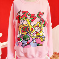 Lolita cute cartoon bunny cake candy pink sweater