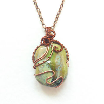 Wire wrapped handmade Pendant  Collection of Porcelain Beads 4. copper wire olive green