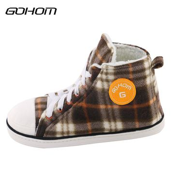 GOHOM 2017 Best Popular Canvas Style Men Home Slippers Winter Warm Soft Sole Flats Indoor/Outdoor Fashion Shoes Couple 11 Color