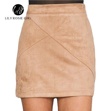 *online exclusive* suede leather high waist pencil skirt