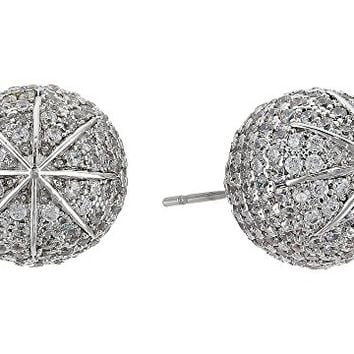 Betsey Johnson Blue by Betsey Johnson Ball Studs with Pave Crystal Accents and Silver Tone Details Earrings