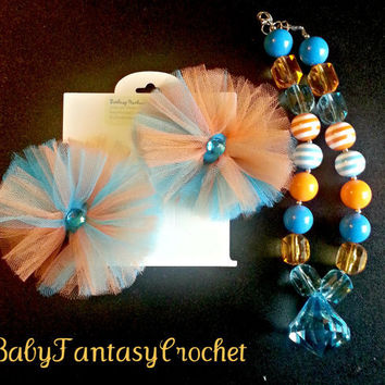 Chunky Necklace and Tulle Hair Bow Set- Gator- Orange- Blue- Child Size Ready to Ship