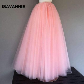 Maxi Skirt 6 Layers Tulle Skirt Premium Sewn With Elastic00Cm Length Long Skirt Womens High Waisted Skirts