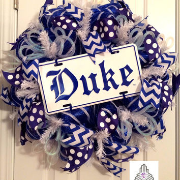 Duke University Deco Mesh Wreath
