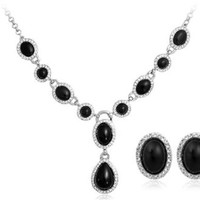 OnceAll 18K Gold Plated Oval Pendant Necklace & Earring Set (White Gold) M.