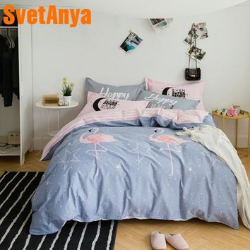 Svetanya Duvet Cover+Pillowcases Cotton Bedding Sets Single Double Queen King Size Flamingo Printed