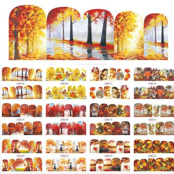 1 Sets 12 Designs Beauty Fall Theme Nail Art Sticker Decals Nails Decorations DIY Tattoos Manicure Tools SABN505-516