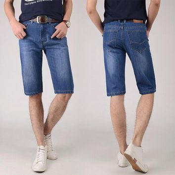 summer men must have cool straight denim shorts young men casual handsome  denim shorts Promotion