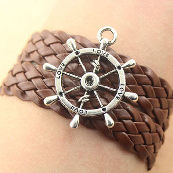 rudder bracelet--love bracelet,antique silver charm bracelet,brown braid leather bracelet,friendship gift