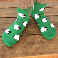 Field of Sheep Graphic Print Cotton Short Ankle Socks for Women in Green