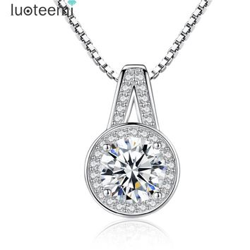 LUOTEEMI 925 Sterling Silver Pendant Neclace Hearts and Arrows Cubic Zirconia Silver Chain Necklace